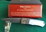 PRO-TECH BR-1 ART DECO ULTIMATE CUSTOM KNIFE ~SHAW Engraved Titanium ~ NICHOLS Damascus ~ Mother of Pearl STUNNING!!