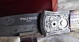 PROTECH GODSON ULTIMATE CUSTOM AUTO KNIFE BARK MASTADON IVORY/ ITALIAN ENGRAVED (1 of 1)NICHOLS DAMASCUS~ NEW in BOX!
