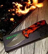 """PRO-TECH SBR Limited Edition Auto Knife """"DEL FUEGO"""" Fire anodized - Pearl button - Nichols Damascus *Only 50 made*"""