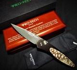 "Pro-Tech Custom Newport Automatic Knife Titanium ~ Tiger Coral (3"" Nichols Damascus) NIB Authorized Dealer"
