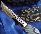 MARFIONE CUSTOM (Microtech) HALO VI HELLHOUNDOTF KNIFE~ MIRROR POLISHCARBON FIBER ~ BLUE TITANIUM HARDWARE NIB Ser#22