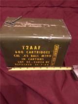 Early WWII .45 acp, 12 50-round boxes (600 rounds)