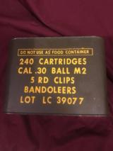 Early WWII unopened, unissued M1 Garand ammo