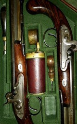 WILLIAM THOMAS, HIGH QUALITY LONDON GUNMAKER RARE CASED DUELING PISTOLS - 11 of 14