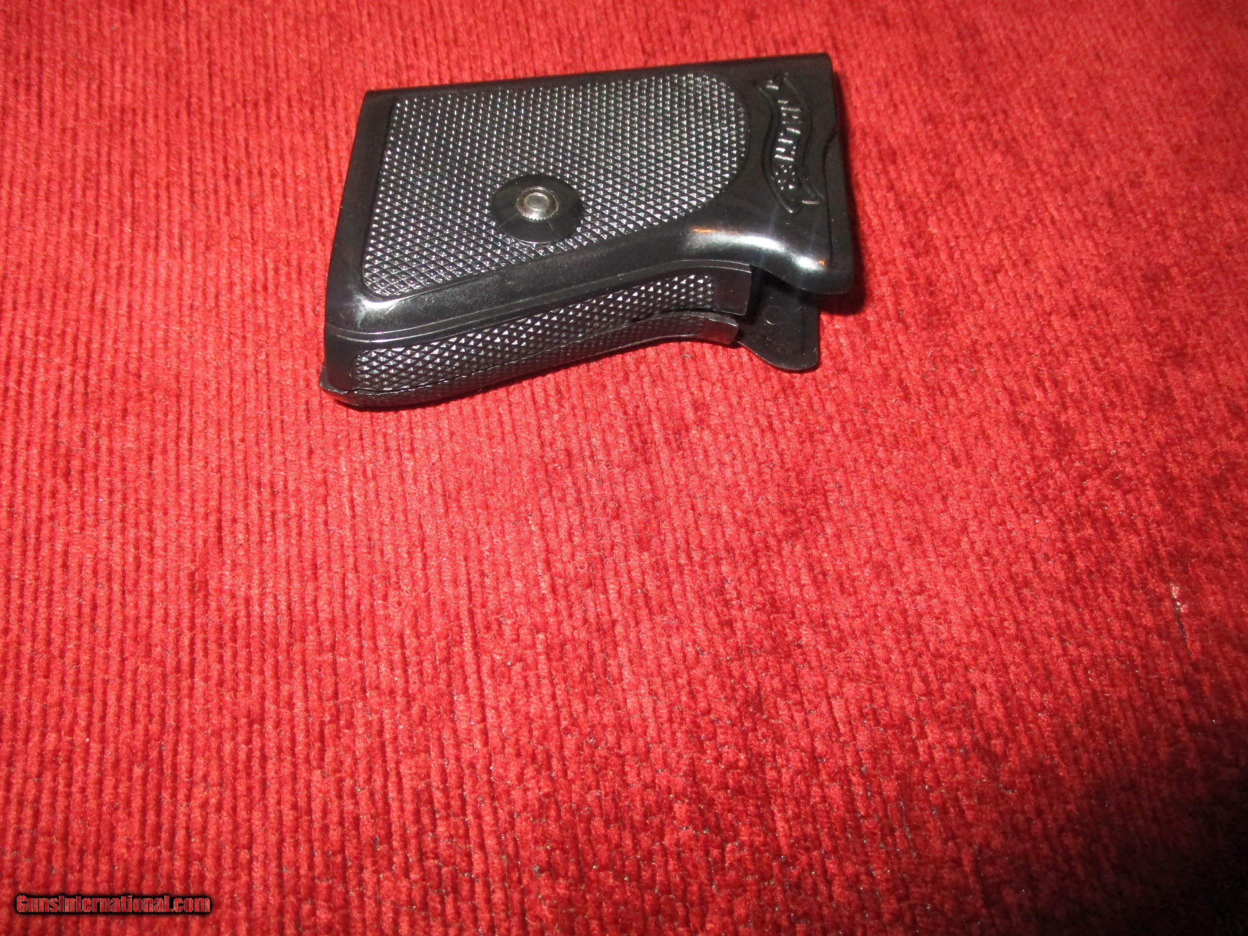 Walther PPK/S 380 ACP wrap - around checkered black plastic grips