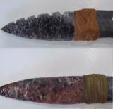 Pair of beautiful obsidian blade knives with antler handles.