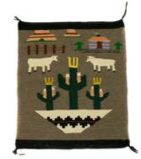 Navajo Germantown weaving with wedding basket, saguaro cactus, sheep and hogan