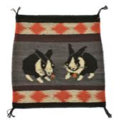 Navajo pictorial with 2 rabbits eating carrots