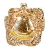 Custom Made Yellow Gold Saddle Ring - 2 of 2