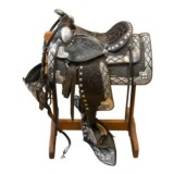 Black And Silver Parade Saddle - Ted Flowers