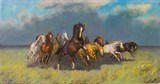 Wild Herd by Wimill(?) Oil on Canvas