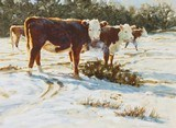 """Cows in the Snow"" Watercolor by Tom Browning"