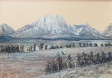 Mt. Moran Watercolor by Edgar S. Paxson