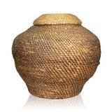 lidded rye straw basket