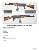 Arms Corporation Phillippines AK 47/22 .22LR - 2 of 2