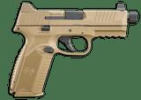FN 509 Tactical 9mm FDE Threaded Barrel 509T Night Sights 66-100373