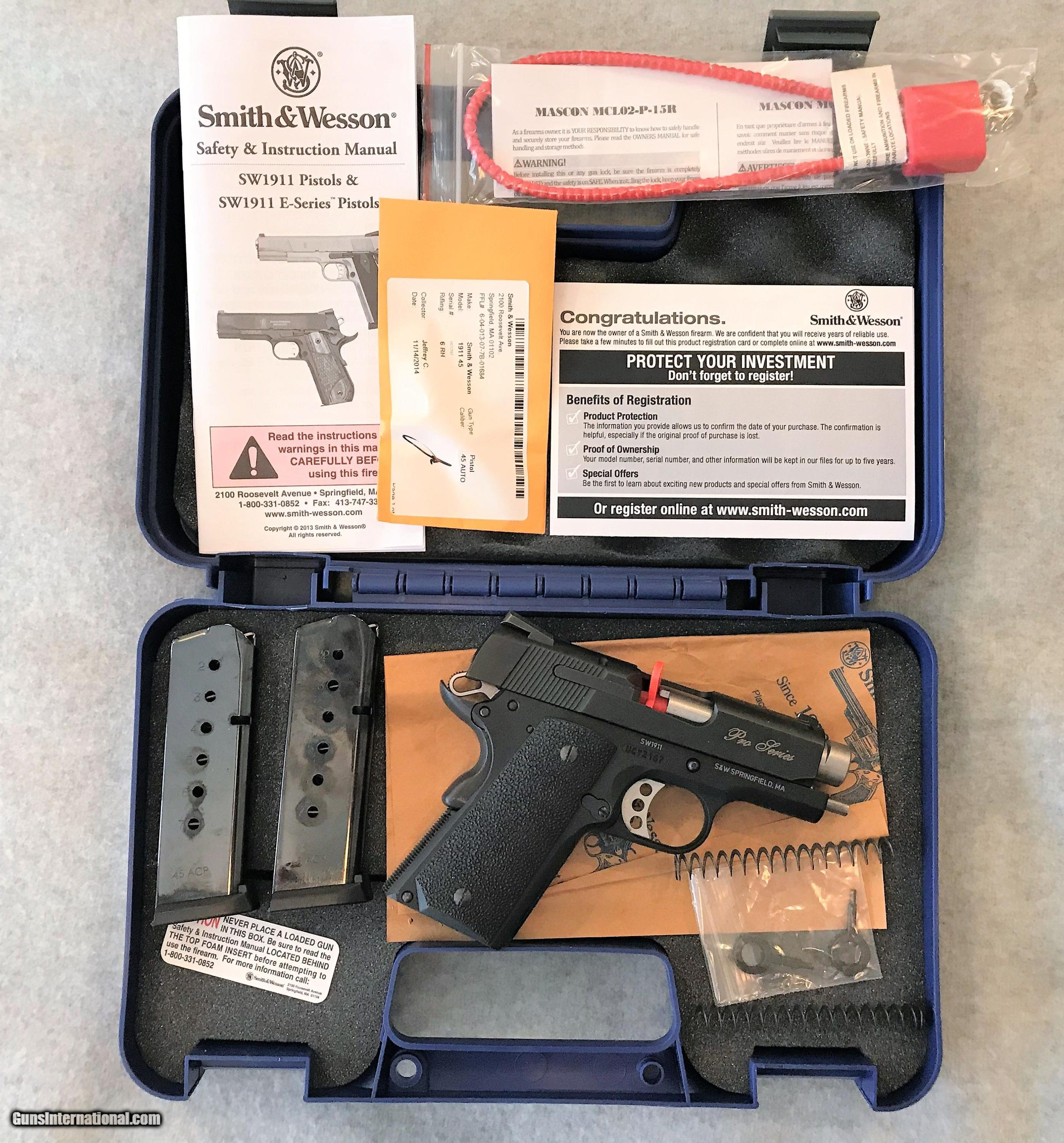 s w 1911 pro series 45 auto as new factory box and acc rh gunsinternational com Colt 1911 Ruger 1911