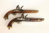 PAIR of Napoleonic Wars Belgian British NAVY Flintlock Pistols / Late 1700s Early 1800s Napoleonic Wars & War of 1812