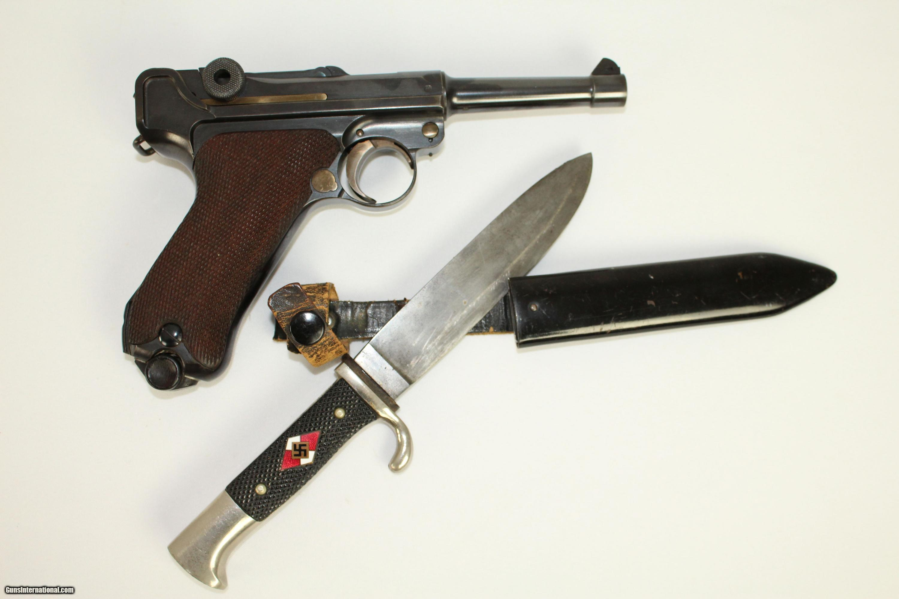 ICONIC Pre-WWII Nazi Sneak Luger Pistol with Hitler Youth Blade