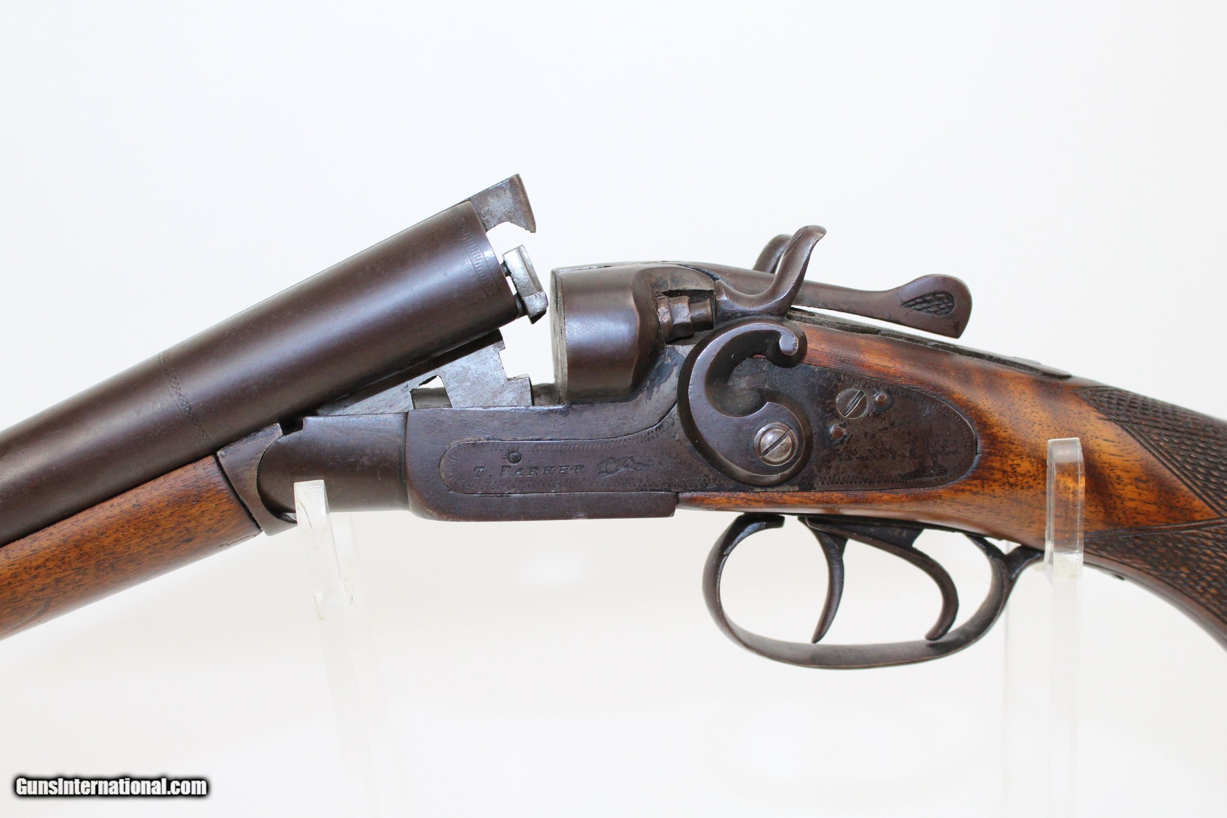 "BELGIAN ""T  BARKER"" Double Barrel Hammer Shotgun"