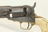 GUSTAVE YOUNG Engraved COLT 1849 POCKET Revolver Made 1853, Engraved with IVORY & Leather Holster! - 6 of 24