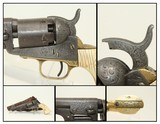 GUSTAVE YOUNG Engraved COLT 1849 POCKET Revolver Made 1853, Engraved with IVORY & Leather Holster!
