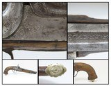 """ENGRAVED and SILVER INLAID Antique RUSSIAN Percussion .54 Cal. BELT Pistol Handsome Big Bore """"MANSTOPPER"""" Gentleman's Pistol"""