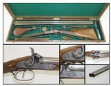 CASED & Engraved Le PAGE BROTHERS Double Barrel PERCUSSION Shotgun GOLD ACCENTED with Accessories!
