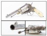 Antique VERO MONTENEGRO 11mm GASSER Revolver in NICKEL & BONE, Engraved An Eye-Catching Sidearm from Montenegro!
