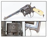 ENGRAVED Antique A. FAGNUS Belgian 9mm PINFIRE Double Action REVOLVER With Profuse FLORAL MOTIF and ANTIQUE IVORY GRIPS!