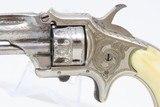 SCARCE 7-SHOT .22 Antique DERINGER Pocket Revolver Engraved NICKEL Ivory Made by Henry Deringer's Great Grandson with IVORY GRIPS! - 4 of 17