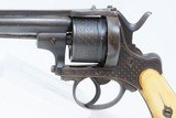 Liege Proofed Antique ENGRAVED European PINFIRE Double Action REVOLVER CROSS HATCHING MOTIF 11mm Sidearm with IVORY GRIPS! - 4 of 17