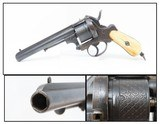 Liege Proofed Antique ENGRAVED European PINFIRE Double Action REVOLVER CROSS HATCHING MOTIF 11mm Sidearm with IVORY GRIPS! - 1 of 17