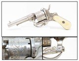 ENGRAVED Antique Belgian PINFIRE Folding Trigger Double Action REVOLVER IVORY GRIPS, FLORAL Scroll 8mm Sidearm!