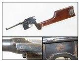 VON LENGERKE & DETMOLD Mauser C96 Broomhandle Pistol 7.63x25 SHOULDER STOCK Retailer Marked German Broomhandle!