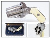 PEPPERBOX Cased ENGRAVED, Ivory MEYERS BREVETE 7mm Pinfire Revolver Antique Stately Folding Trigger with ANTIQUE IVORY GRIPS