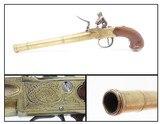 Grotesque Mask WILLIAM GRICE of LONDON Brass .60 Caliber FLINTLOCK PistolCirca Late-1700s Sidearm Belt Sized Pistol - 1 of 19