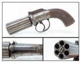 Engraved BRITISH Antique .36 Cal. BAR HAMMER Percussion PEPPERBOX Revolver1840s 6-Shot Self Defense Revolver