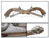 Antique PAIR of ENGRAVED Belgian .48 Cal. Percussion TARGET/DUELING Pistols Liege Proofed Pistols with RELIEF CARVED STOCKS