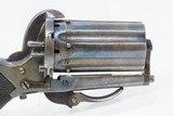 Antique EUROPEAN Multi Barrel FOLDING Trigger 7mm Caliber PINFIRE PEPPERBOX Pocket Size European 1880s Double Action Self Defense Pistol - 13 of 13