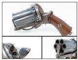 Antique EUROPEAN Multi Barrel FOLDING Trigger 7mm Caliber PINFIRE PEPPERBOX Pocket Size European 1880s Double Action Self Defense Pistol - 1 of 14