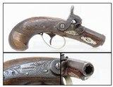 """SAN FRANCISCO, California CURRY Agent H. DERINGER Percussion Pistol Antique ENGRAVED """"Peanut"""" Size HIDEOUT Pistol"""