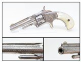 Rare Short-Barreled ENGRAVED Nickel PEARL 1870s SMITH & WESSON No1 RevolverVery Handsome 7-Shot S&W in .22!
