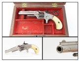 Cased, Engraved, Ivory OLD WEST Antique SMITH & WESSON No. 1 Revolver .22 S 19th Century POCKET CARRY 7-Shot .22