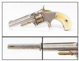 "RARE ENGRAVED, SHORT BARRELED SMITH & WESSON Number 1, 3rd Revolver Antique GOLD & IVORY with 2-11/16"" BARREL"
