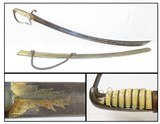Antique U.S. Pattern NATHANIEL STARR 1813 Contract CAVALRY OFFICER'S SaberWar of 1812 Sword with GOLD ACCENTS & SCABBORD