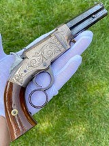 Exceptional Factory Engraved Silver Plated Volcanic Pistol - 8 of 15