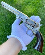 Factory Engraved Colt 1849 Pocket w/ Rare Factory Nickel Finish - Gustave Young Late Vine Scroll