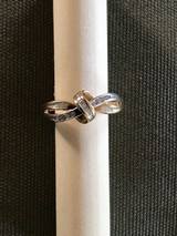 Ladies 10 K gold multi diamond ring