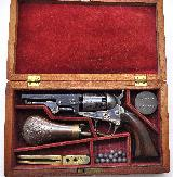 FANTASTIC CIVIL WAR ERA COLT 1849 POCKET REVOLVER .31 CAL ANTIQUE 1863 MFG WITH ORIGINAL CASE & ACCESSORIES